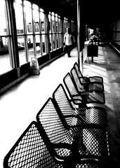objective (Harry Halibut) Tags: shadow blackandwhite bw woman bus sunshine station noiretblanc sheffield transport pedestrian images seats customer passenger client allrightsreserved interchange linescurves 123bw anglesanglesangles obliquemind obliquamente sheff080226014a imagesofsheffield andrewpettigrew
