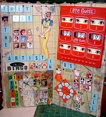ALTERED GAME BOARD workshops (dimestoredaze1) Tags: flowers collage vintage paper felting jewelry fairies alteredart crowns paperdolls cigarboxes assemblege craftworkshops