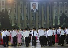 April 15, Mass dancing on Kim Il Sung Square - North Korea (Eric Lafforgue) Tags: pictures travel del square photo war asia republic dancers picture korea il kimjongil korean socialist asie coree norte northkorea nk ideology axisofevil pyongyang dictatorship  eastasia sung