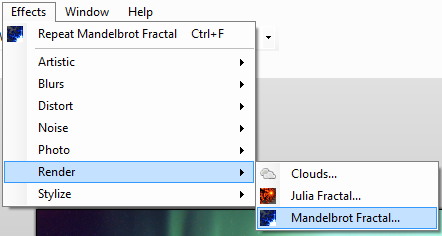 Selecting the effect from the Paint.NET menu