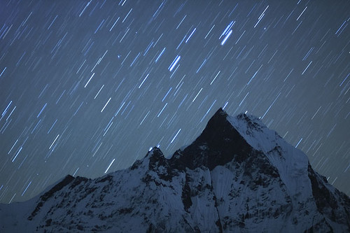 Stars light over Machapuchare north face