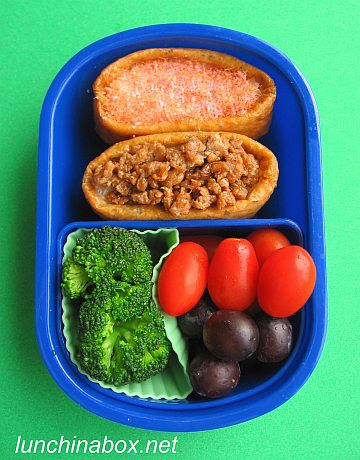 Stuffed inarizushi bento lunch for preschooler