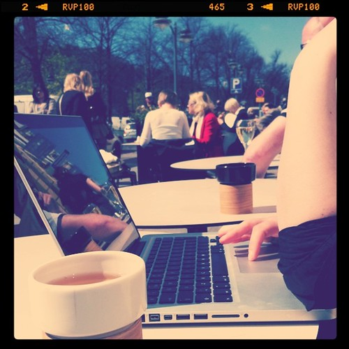 Because it is summer, meetings are taken outside :)