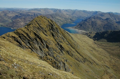 Barrisdale bay and Coire Dhorrcail from Ladhar Bheinn