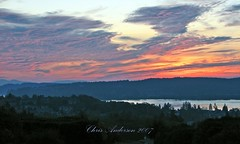 October Sunset (mistymisschristie) Tags: pink blue trees light red orange west water yellow clouds washington shadows purple peaceful hills tacoma signed naturesfinest octobersunset allrightsreserved golddragon abigfave mistymisschristie