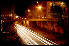 Paris by night Trash (lavomatic) Tags: bridge light black paris france car night ink photoshop canon lumire voiture pont nuit phare bruch parisbynight longueexposition longueexposure 400d 6secondes