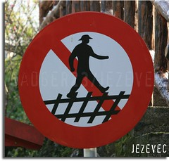 Funny Sign - Don't walk on the train tracks, or fence, whatever. (Badger 23) Tags: people man men sign danger walking funny humor taiwan figure laugh stickfigure stick sein stickfigures figures   peril signe wulai stickpeople zeichen segno signo znak    teken enklas inperil  tegn    merkki mrk