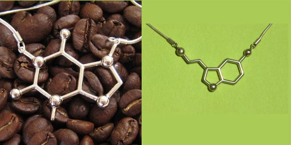 made with molecules, jewelry, caffeine, etsy, jewelry, chic and charming, seretonin