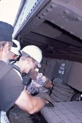 Me changing out a breakshoe during Railcamp 2002 at Steamtown National Park (Mark Vogel) Tags: railroad museum train railway scranton steamtown nrhs railcamp