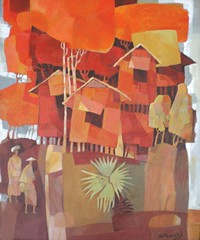 Rural Scene#1, by Tin Maung oO, acrylic on canvas, 51x61cm