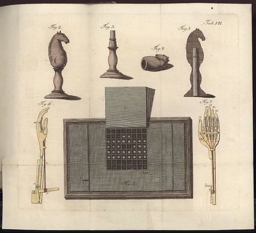 chess-playing automaton hoax : coloured engraving
