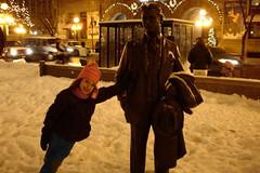 Leaning with F. Scott (bakelitebrite) Tags: winter statue bronze night busstop bronzestatue fscottfitzgerald ricepark edmundricepark
