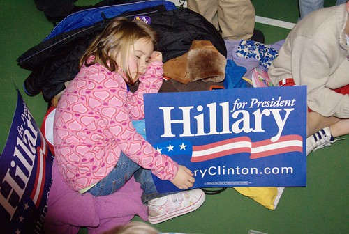 Emma got tired at the Hillary Rally