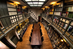 The Astronomy Library ((Erik)) Tags: holland museum utrecht library nederland thenetherlands books astronomy parallax hdr boeken readingtable peleng 3xp sonnenborgh peleng8mm sterrenwacht defished leestafel theastronomylibrary