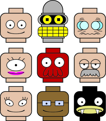 Futurama Lego minifig custom made heads