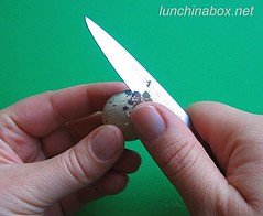 Cutting open a quail egg