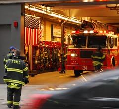 24 Hook and Ladder 24 (Tiz_herself) Tags: newyork nikon flags explore americanflags firemen firetrucks fdny firefighters firedepartments d40x