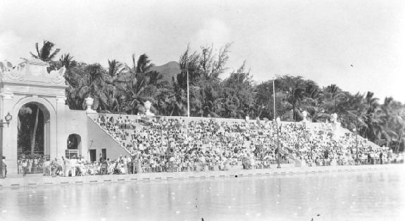 Packed Bleachers at the Waikiki War Memorial Natatorium near Kaimana Beach