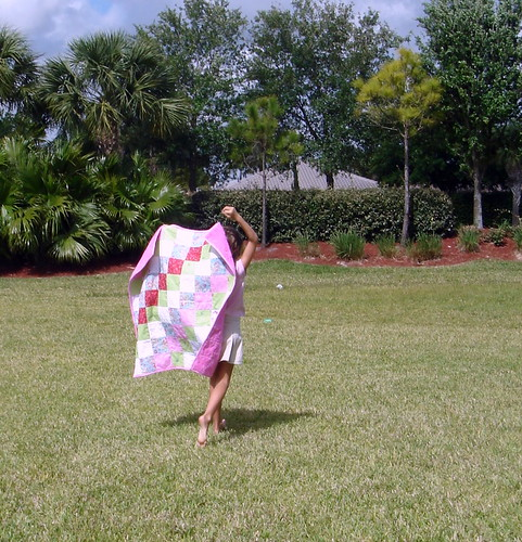 m running with girly patchwork quilt