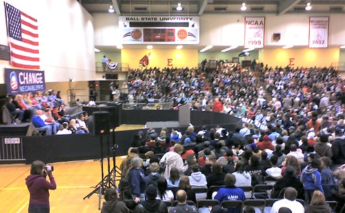 Obama at Ball State: In Our Seats In the Gym