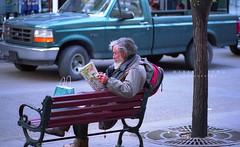 Shopping Plans? (Fungman) Tags: calgary nikon downtown fuji candid homeless streetphotography photojournalism f100 alberta fujifilm analogue nikkor reala streetperson 100iso negativefilm 105mmf28gvrmicro 105mmf28vr stevenavenue epsonv500 fungman 105mmf28gedvr