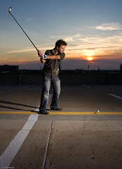 URBAN GOLF - GOLF URBAIN (Luc Deveault) Tags: city roof sunset urban sun canada dan golf soleil interestingness meetup parking explore qubec vandalism elevated crpuscule ville maniac strobist vandalist photoquebec parkingloot eldanooo upcoming:event=809618 ms080705