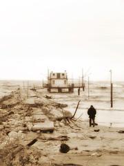 MARINA ROMEA RAVENNA. HURRICANE (giovannivarotti) Tags: river beach water weather sea bw biancoenero sepia bnw marinaromea emiliaromagna italy italia ravenna