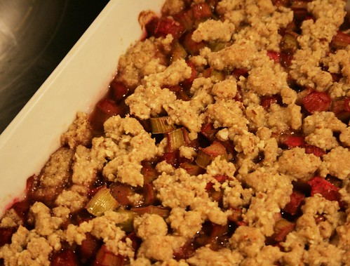 Making rhubarb crumble