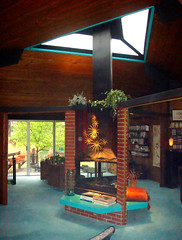 Searing House by Architect, Bruce Goff - Fireplace and Skylight (moderns_r_us) Tags: modern village ks kansas midcenturymodern midcentury organicarchitecture goff brucegoff kcmodern organicmodern kcmodernblogspotcom searingresidence searinghouse cityprairie