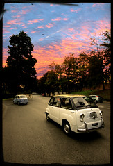 "Twins ""multipla"" at sunset (Adriano.) Tags: road street old sunset italy rome roma cars car clouds canon vintage landscape psp strada italia tramonto nuvole fiat wideangle retro 600 memorabilia 1022 multipla fifities 10faves 400d colourartaward canoniani"