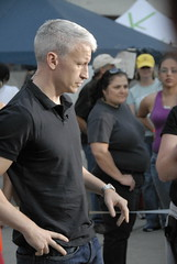 Anderson Cooper Reporting at Qualcomm Stadium (Nick  Carlson) Tags: photography hope sandiego carlson nick wildfire chargers andersoncooper qualcommstadium evacuees californiafires evacuationcenter nickcarlson truelifeimages nickcarlsonphotography