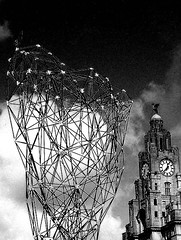 art work and liver building - liverpool - england (~ paddypix ~) Tags: blackandwhite photoshop buildings objects specialeffects fragments moodyblues bwdreams ukandireland urbanside