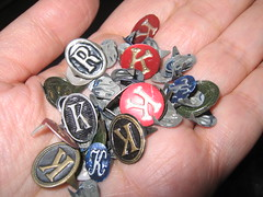 Vintage metal initials for man's hats