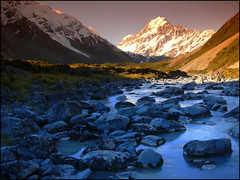 Evening in the Hooker Valley (katepedley) Tags: new newzealand mountains evening nationalpark interestingness panasonic explore zealand nz mtcook southisland fz30 aoraki hookervalley naturesfinest tobaccofilter specland gradfilter cokinaseries hookerriver nz101aorakimountcook