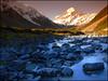 Evening in the Hooker Valley (katepedley) Tags: new newzealand mountains evening nationalpark interestingness panasonic explore zealand nz mtcook southisland fz30 aoraki hookervalley naturesfinest tobaccofilter specland gradfilter cokinaseries hookerriver nz101aorakimountcook