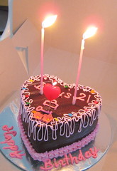 My 21st Birthday! (raspberrii) Tags: birthday pink cake singapore candles chocolate cream valrhona feuilletine hazelnut frosting