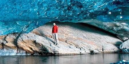 Huge grotto under Norwegian glacier