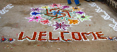 India - Sights & Culture - 027 - Chalk & flowe...
