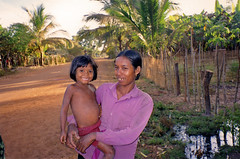 Mother and Daughter , village near Kampong Thom, Cambodia (Boonlong1) Tags: travel family people building cute kids rural children asian asia cambodia cambodian khmer village exotic motherandchild 5photosaday