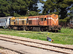 - (Dimitris G.) Tags: people station train hellas caterpillar greece ose     amfiklia