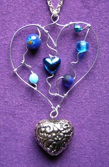 Blue Hearts - a very long necklace