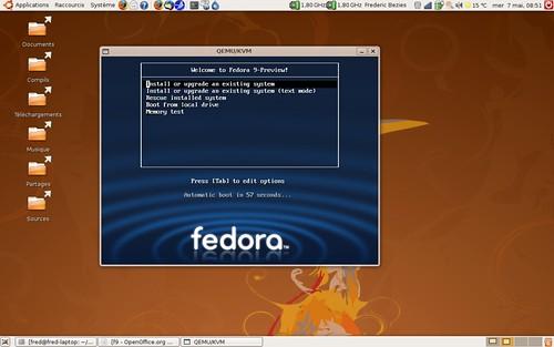 Ecran de démarrage d'installation de la Fedora 9