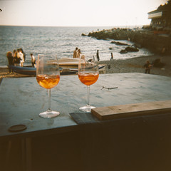 Tuesday afternoon is never ending (Ilaria ) Tags: 6x6 holga tramonto mare toycamera barche genova spiaggia spritz boccadasse pomeriggio ozio medioformato fujifilmpro160s toycamerafotografiaanalogicaitalia ghesemmu
