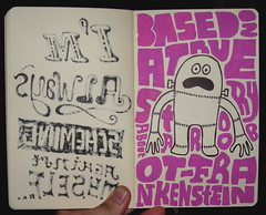 20080601 (Chris Piascik) Tags: pink moleskine monster robot words character doodle frankenstein stitches type dailydrawing chrispiascik