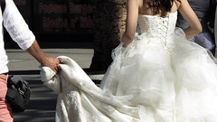 Bridal Photography in Transit (Theen ...) Tags: bride dress frilly gown groom hurrying lace lumix mall photographer photoshoot shopping surfersparadise theen wedding white