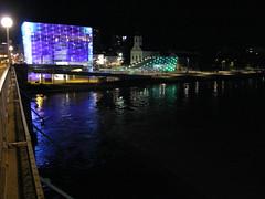 ARS electronica at night (cesarharada.com) Tags: urban beach architecture linz boats austria riverside piers shore electronica interactive ars danube autriche donau danau urbanization osterich