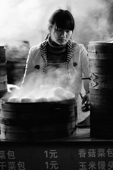My QD (Doug Knisely) Tags: china street bw woman girl shop nikon shanghai shot steam buns backlit steamer qd cs3 nx2 70300vr d700