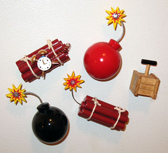 Fridge Magnets (plundercorp60) Tags: red black cartoon magnets boom dynamite tnt bombs roadrunner cherrybomb