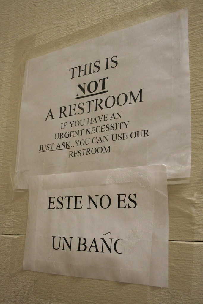 This is NOT a restroom. If you have an urgent necessary JUST ASK. You can use our restroom.