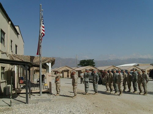 Raising the flag on Memorial Day 2007 in Afghanistan